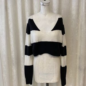 Olivaceous Striped Crop Sweater